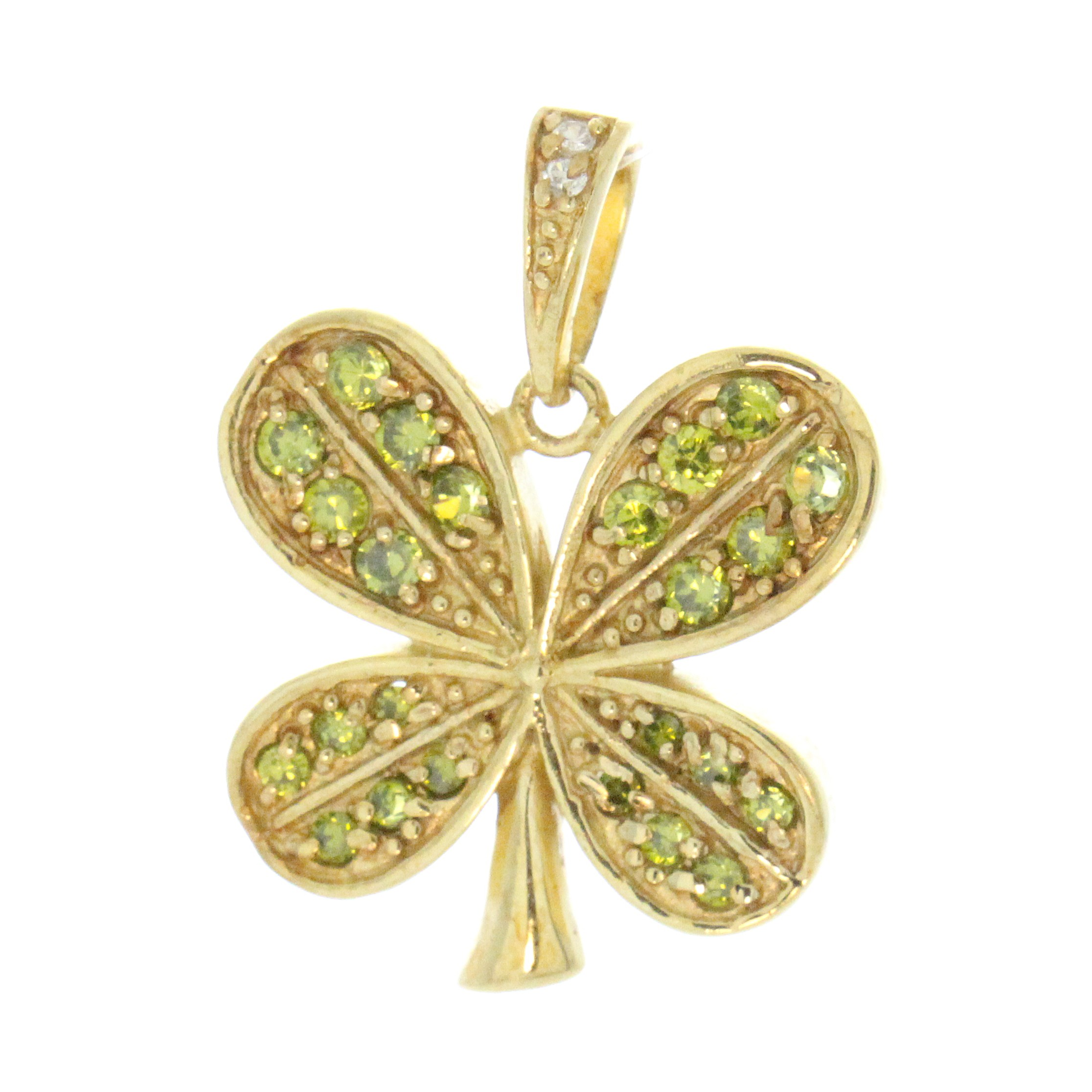 gold necklace pendant leaf products clover lucky four rose