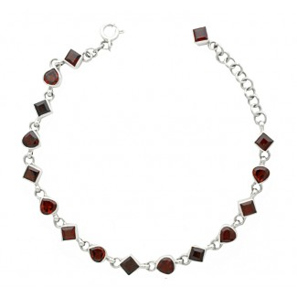 Sterling Silver .925 Garnet Gemstone Hearts and Diamond Clasp Bracelet