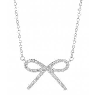 Silver Pave Bow Necklace, 18""