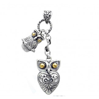 Sterling Silver .925 and 18K Gold  Bali Double Owl Pendant
