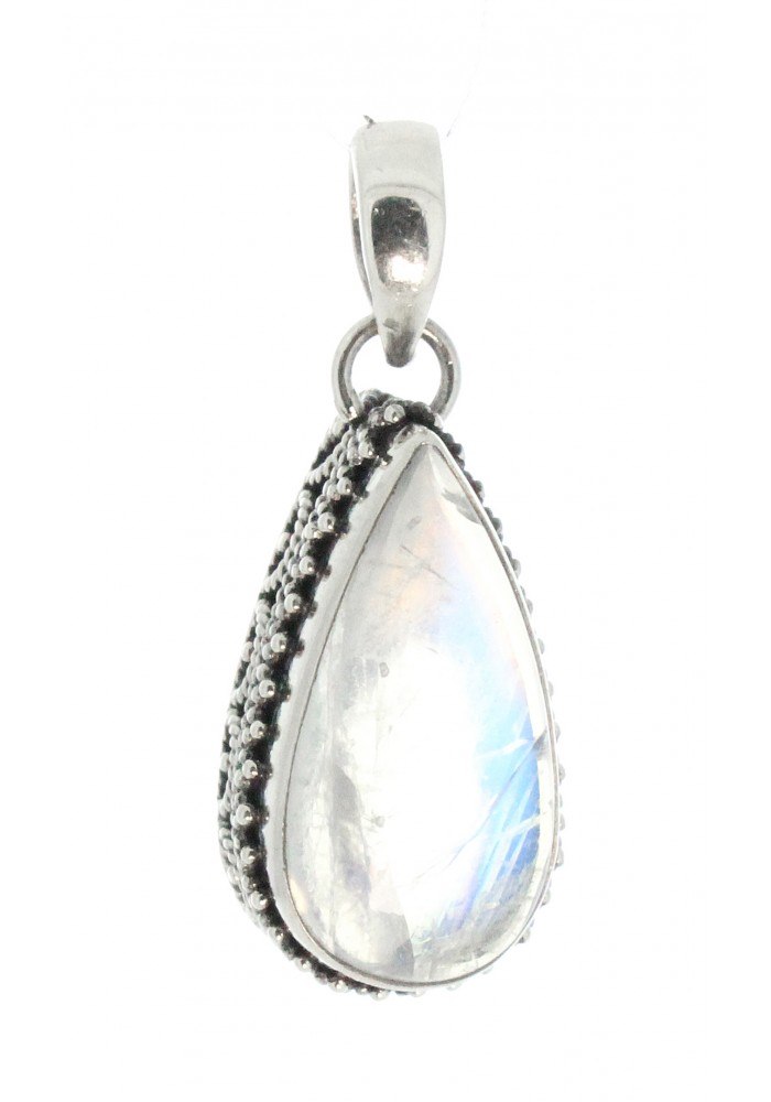 Paradiso Inc Jewelry Sterling Silver .925 Pear Moonstone Intricate Design Bali Pendant