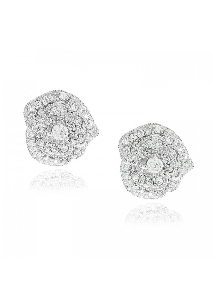 Sterling Silver .925 Full Bloom Rose Pave Stud Earrings