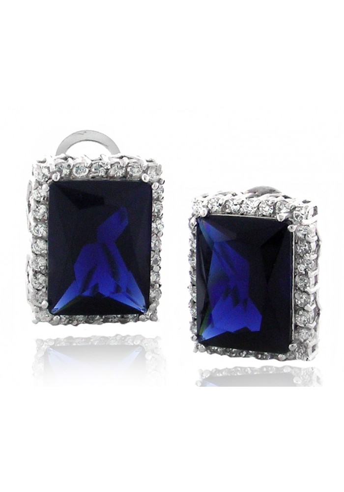 Sterling Silver .925 Sapphire Emerald Cut Pave CZ Stud Clip Earrings