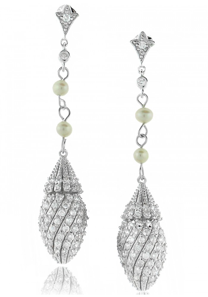 Sterling Silver .925 Pearly Shell CZ Drop Earrings