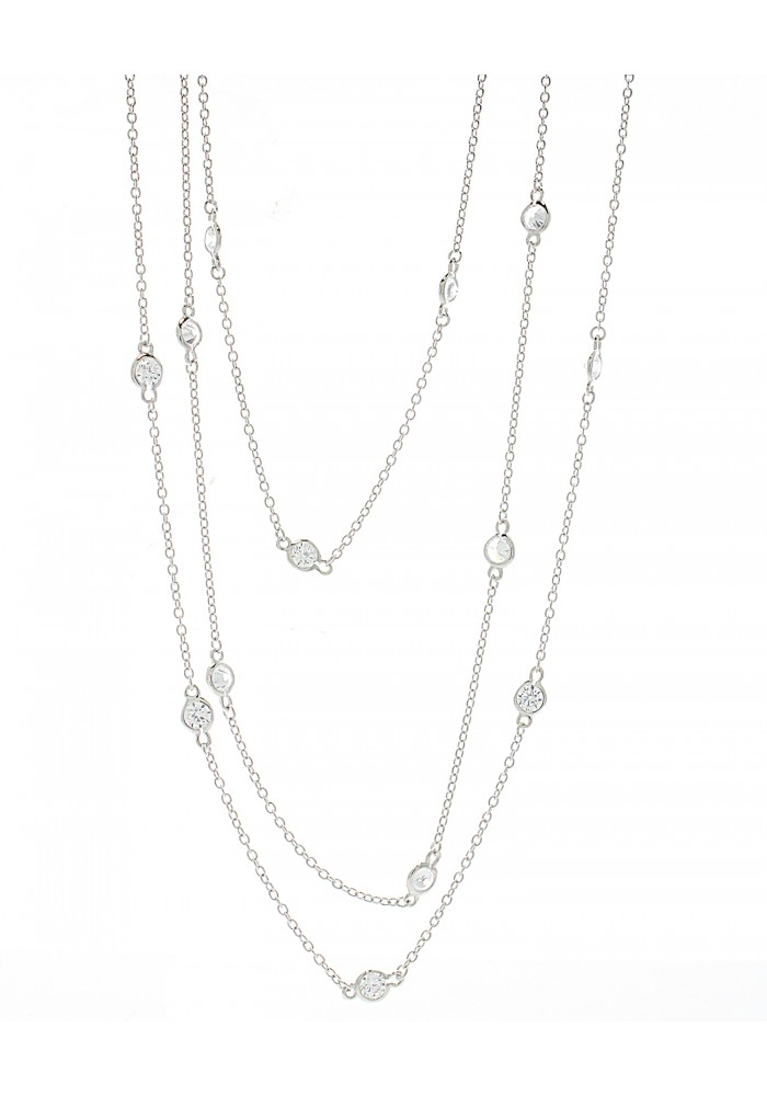 """Silver Plated CZ Yard Wrap Necklace, 40"""""""