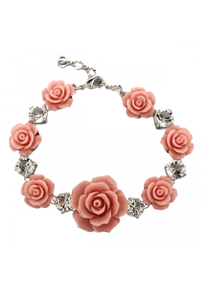 Rose Swarovski Element Pink Clasp Bracelet