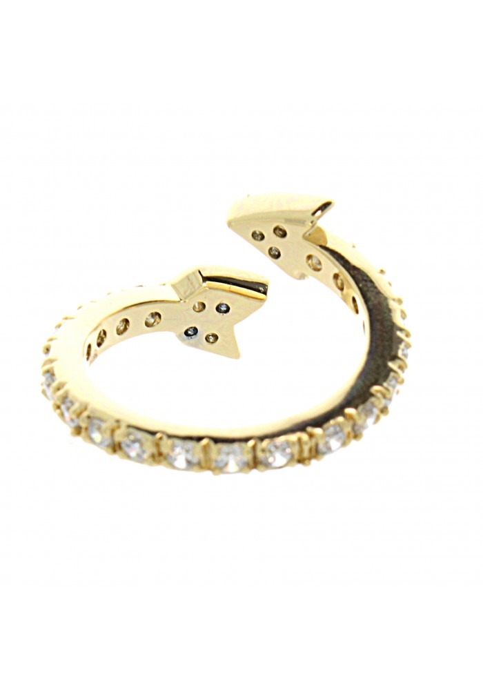 Gold Plated Cz Pave Arrow Ring