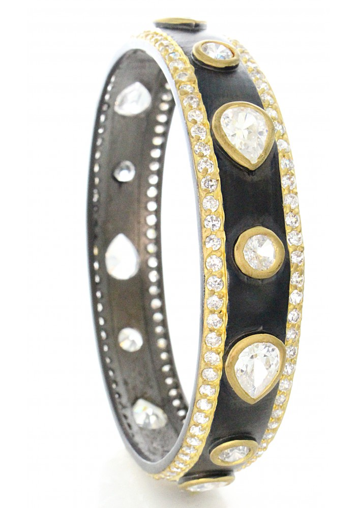 Art Deco Gold Plated CZ Rhodium Plated Bangle Bracelet
