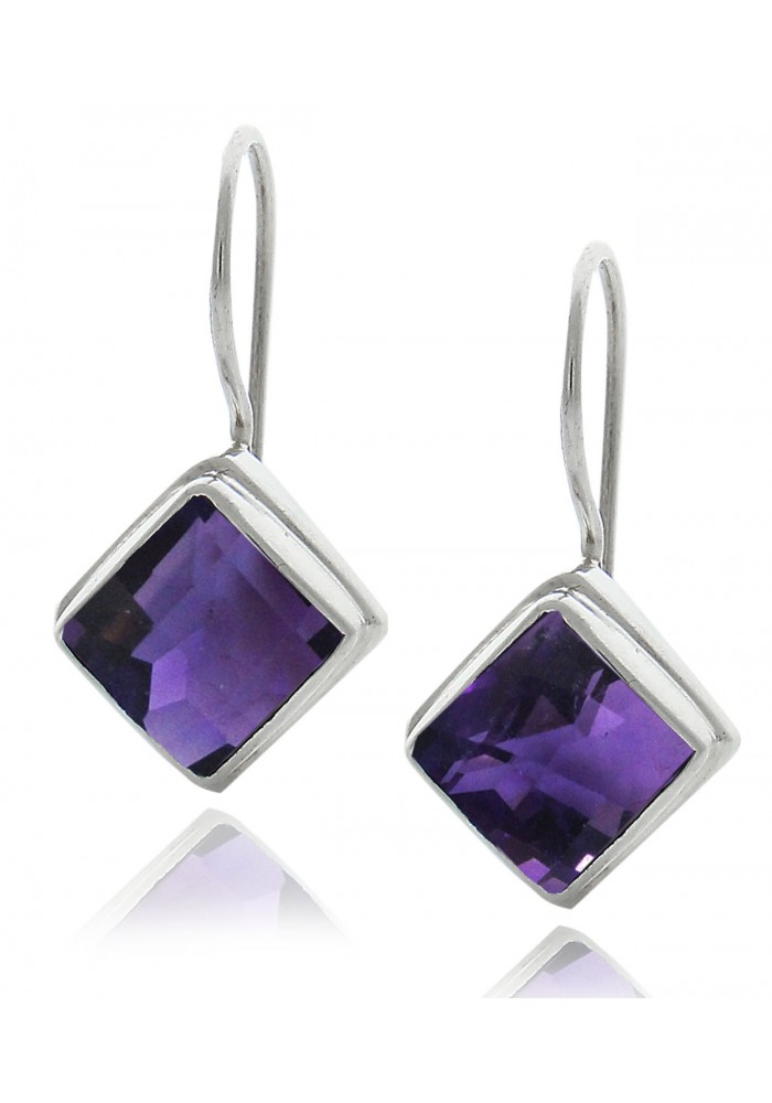 Sterling Silver .925 Cushion Snap Lock Amethyst Earrings