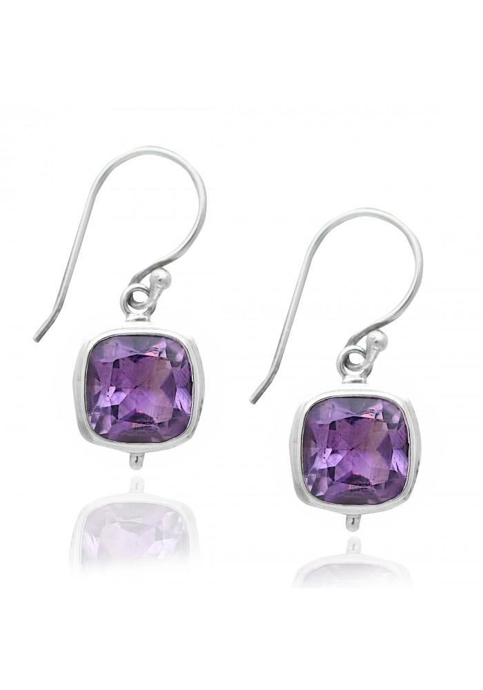 Sterling Silver .925 Double Bezel Square Amethyst Earrings