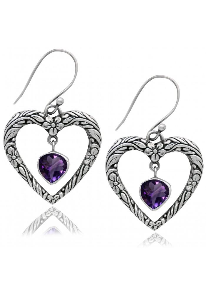 Sterling SIlver .925 Textured Heart Amethyst Earrings