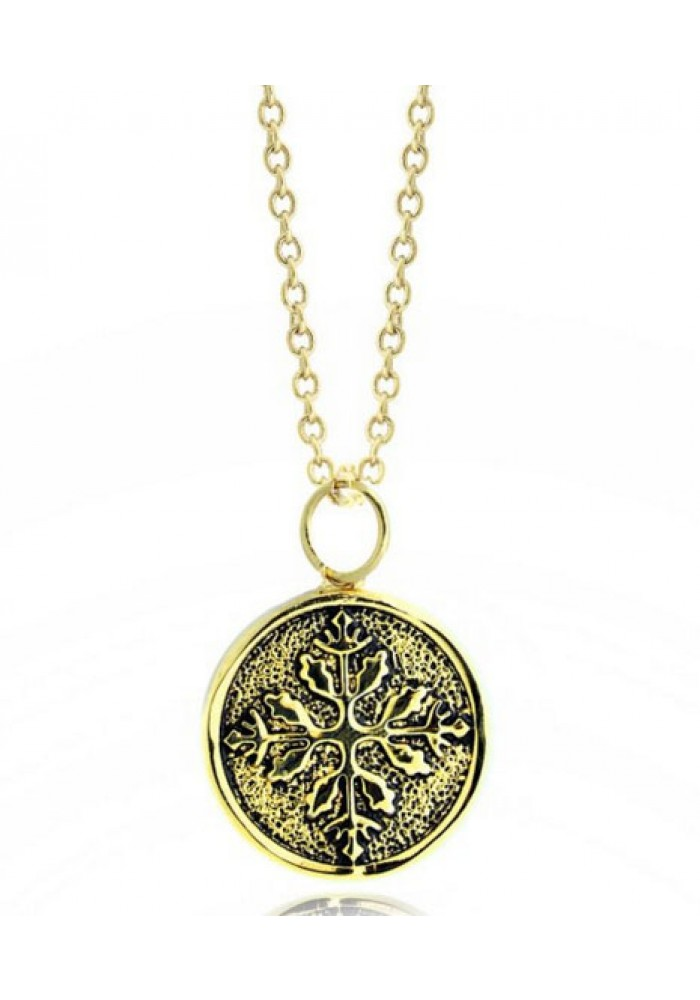 "Snowflake Embossed Medallion14K Gold Plated  Pendant Necklace on 16"" chain"