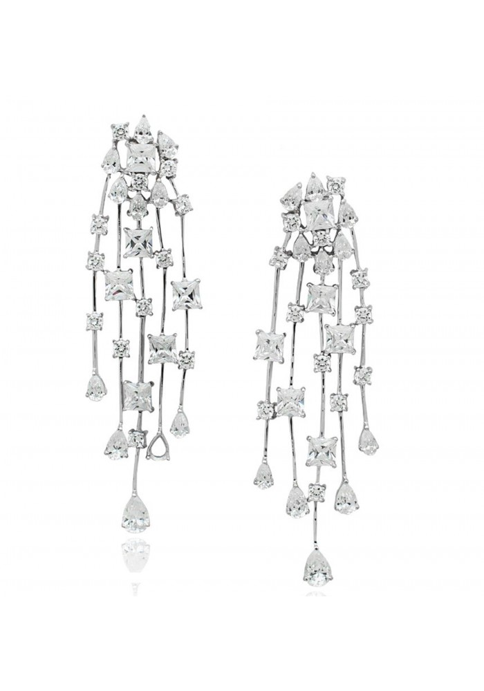 CZ Silver Explosion Earrings