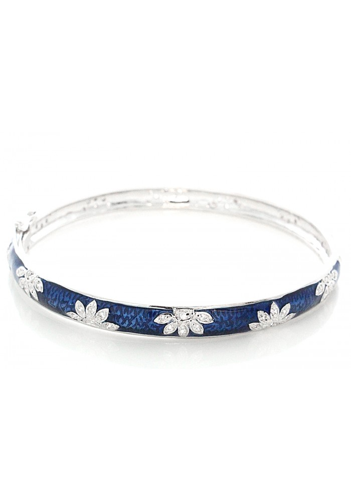 Silver Dark Blue Enamel Lotus Pave Bangle Bracelet