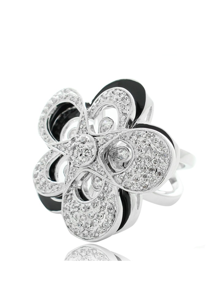 CZ Movable Flower Black Enamel Statement Ring