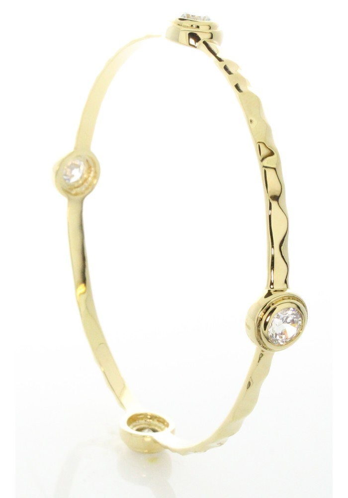Hammered Gold Plated CZ Station Bangle Bracelet