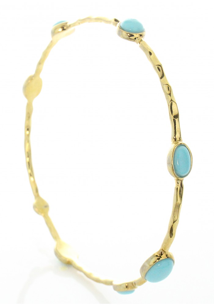 Hammered Gold Plated Turquoise Stone Bangle Bracelet