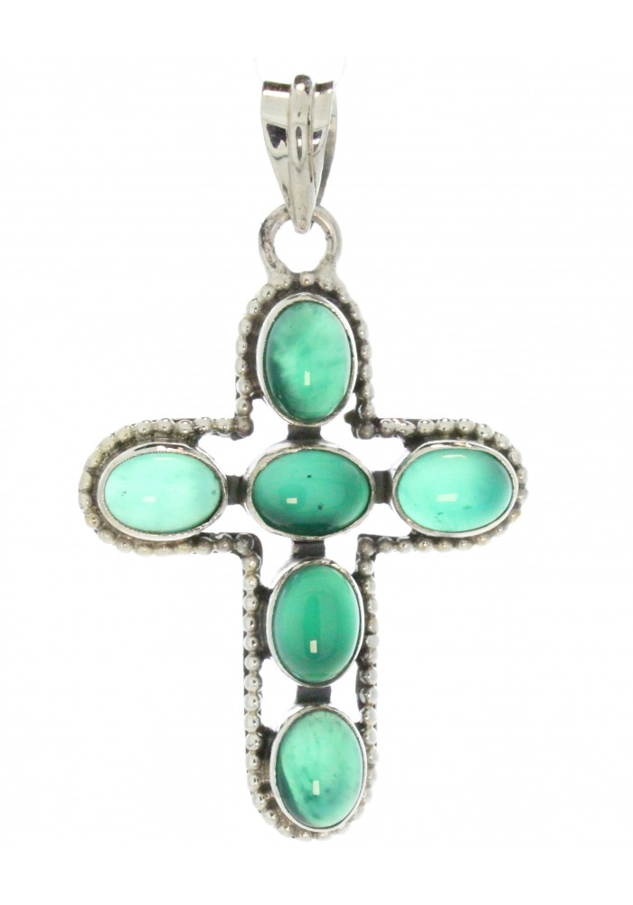Sterling Silver .925 Green Onyx Cross Pendant