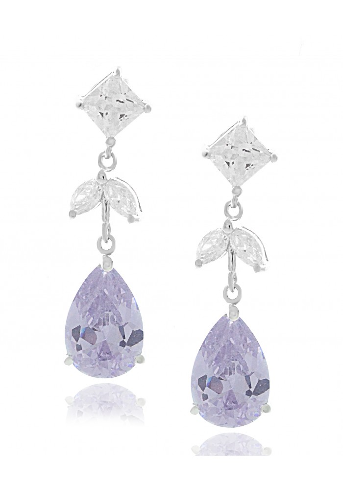 Sterling Silver .925 Lavender CZ Teardrop Earrings
