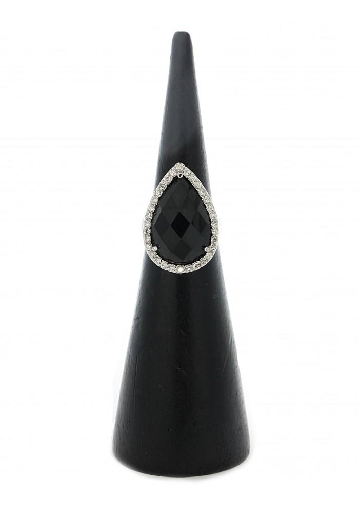 Pear Onyx CZ Ring