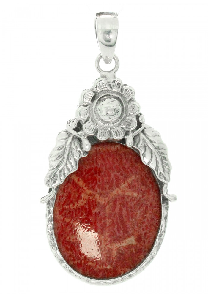 Paradiso Inc Jewelry Sterling Silver Oval Coral Frame Pendant
