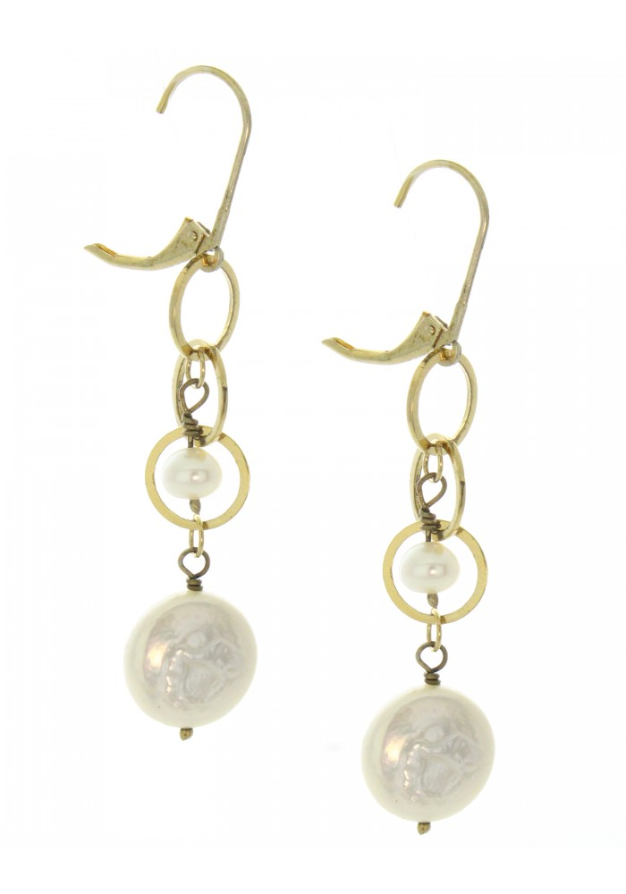Lever Back Sterling Silver .925 Pearl Round Linked Drop Earrings