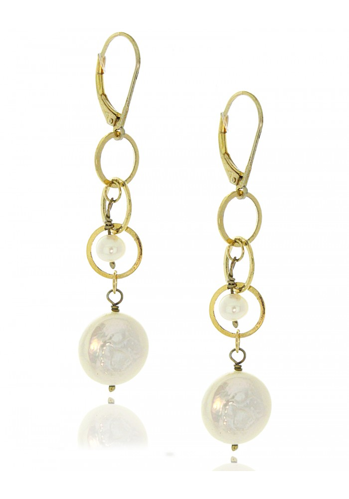Sterling Silver .925 Pearl Round Linked Drop Earrings