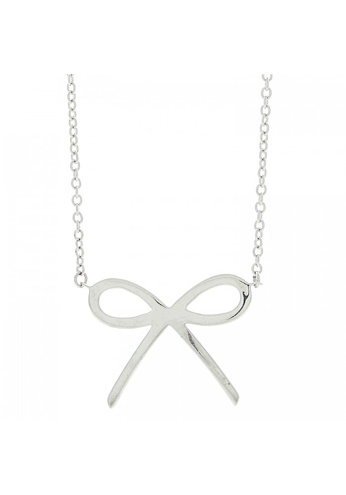 Plain Silver Bow Necklace, 18""