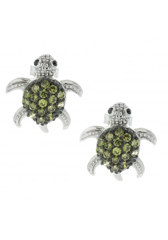Sterling Silver .925 CZ Green Turtle Pave Stud Earrings