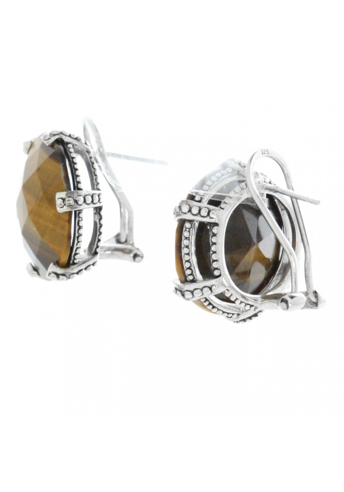 Sterling Silver .925 Large Round Tiger Eye Clip Earrings