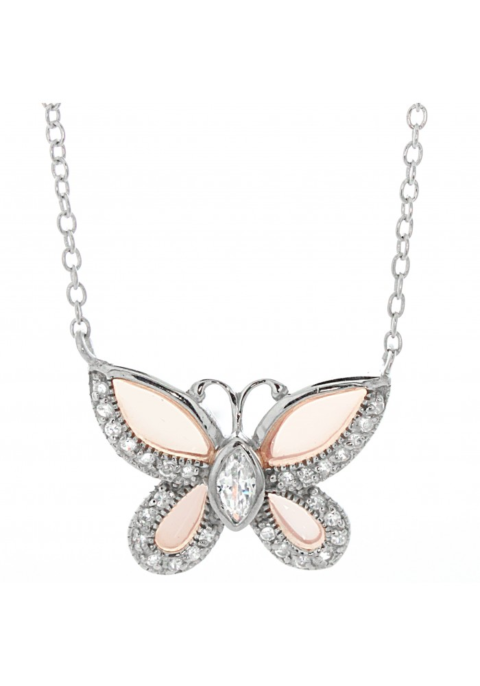 Silver CZ Butterfly Necklace, 18""