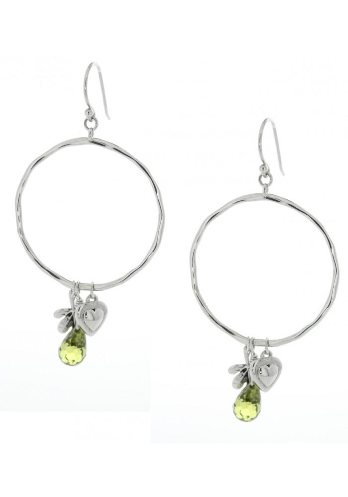 Sterling Silver .925 Silver CZ Briolette Charm Dangling Hoop Earrings