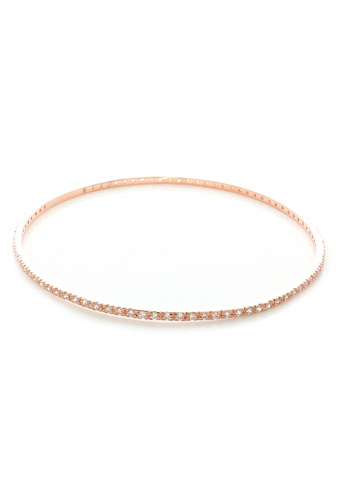 Thin CZ Rose Gold Plated Thin Bangle Bracelet