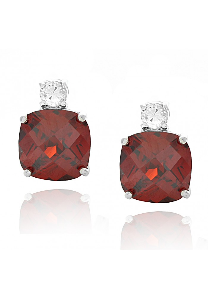Sterling Silver .925 Square Cushion adn Round CZ Stud Earrings