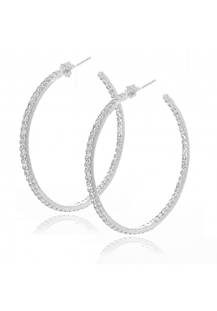 Sterling Silver .925 CZ Inside Out Round Hoop Earrings 1.5 in