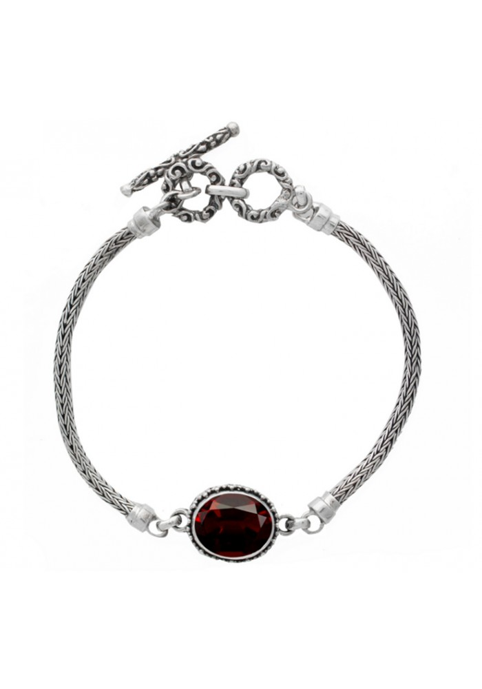 Sterling Silver .925 Center Oval Garnet Beadwork Toggle Bracelet