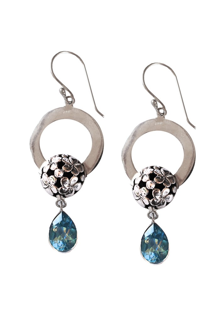 Sterling Silver Floral Round Blue Topaz Milo Drop Earrings