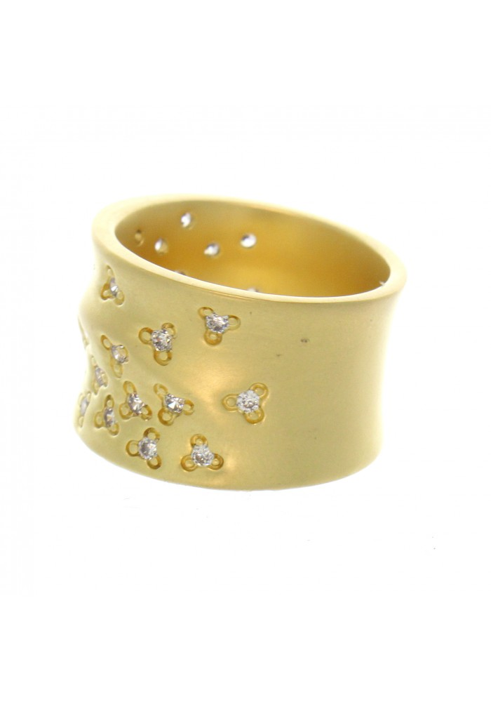 WIDE GP BRASS RING WITH CZ