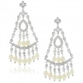 429ac503b96833 Sterling Silver .925 Fresh Water Pearl and CZ Chandelier Earrings