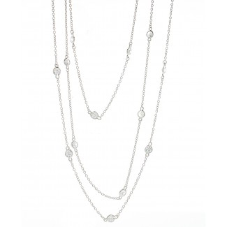 Silver Plated CZ Yard Wrap Necklace, 40""