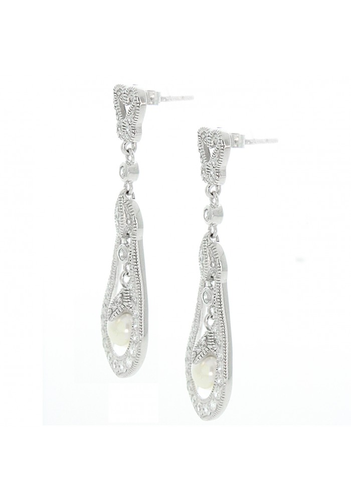 Sterling Silver .925 Pave Open Pearl Art Deco Dangle Earrings