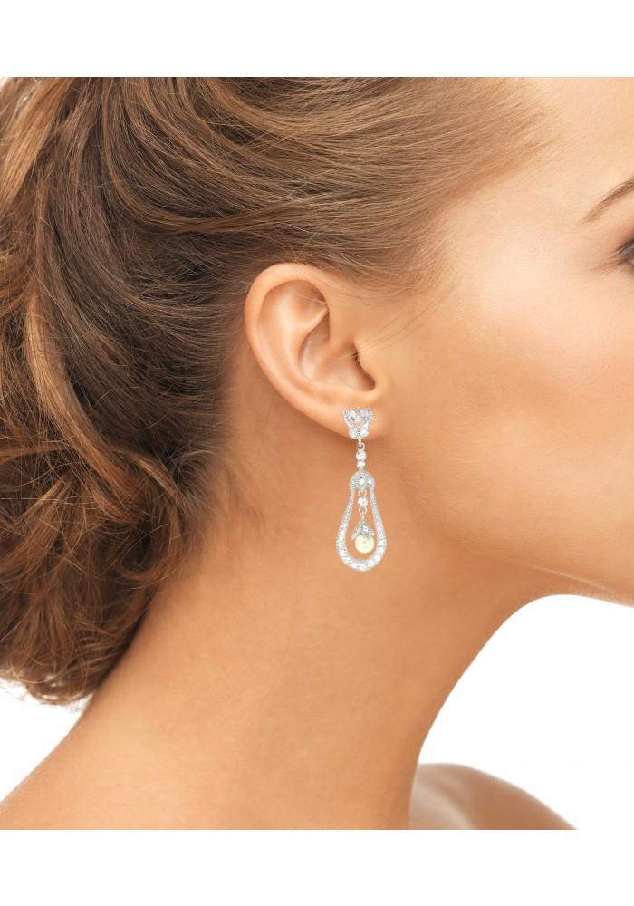 Sterling Silver .925 Pave Open Pearl Art Deco Dangle Earrings