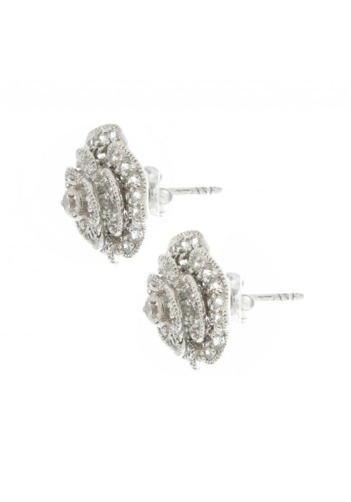Sterling Silver .925 Full Bloom Rose Pave Stud Earrings