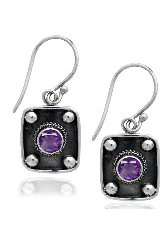 Sterling Silver .925 Square Amethyst  Earrings