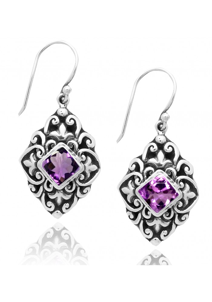 Sterling Silver .925 Diamond Shape Ornate Amethyst Earrings