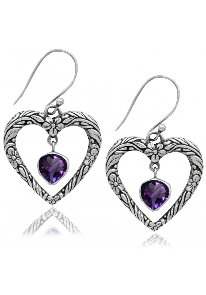 Sterling SIlver .925 Textured Heart Amethyst Earrings