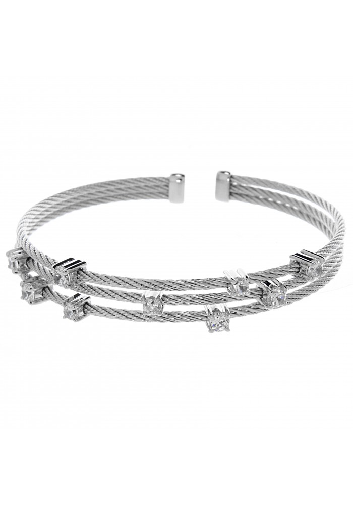 Sterling Silver 925 Wire CZ Cuff Bracelet