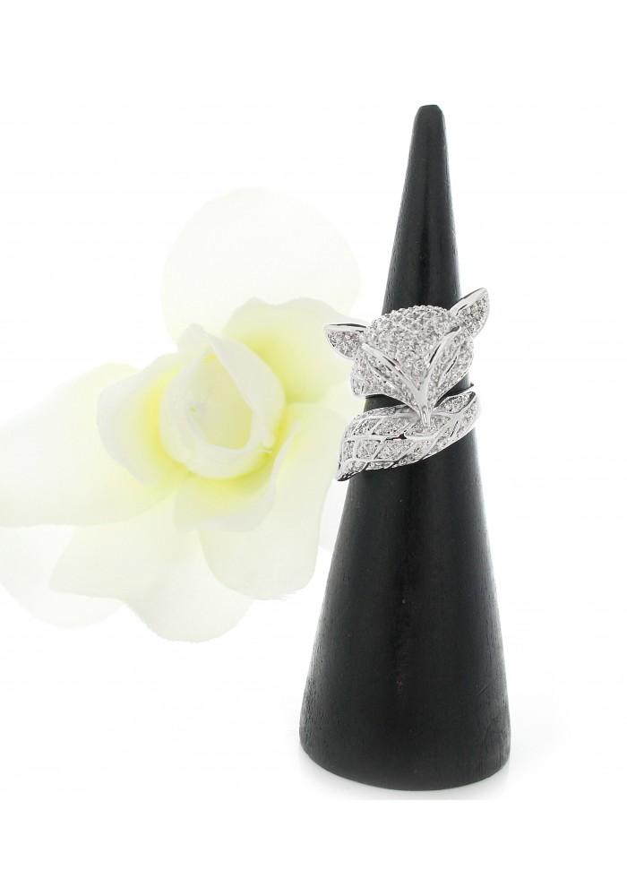 Pave CZ Fox Wrap Around Cocktail Ring