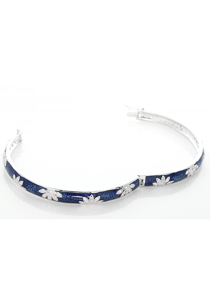 Silver Dark Blue Enamel Lotus Pave Bangle Bracelet