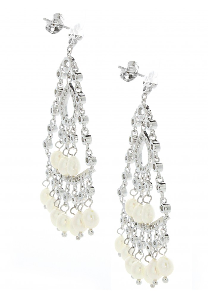 Sterling Silver .925 Fresh Water Pearl and CZ Chandelier Earrings